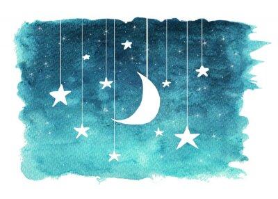 Vinilo La luna y las estrellas colgando de cuerdas pintadas en acuarela sobre fondo blanco aislado, fondo de cielo nocturno