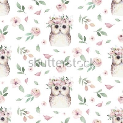 Vinilo La mano inconsútil de la acuarela ilustró el estampado de flores con la hoja floral, las flores rosadas y el búho del bebé. Acuarela boho fondo de pantalla de fondo botánico textil