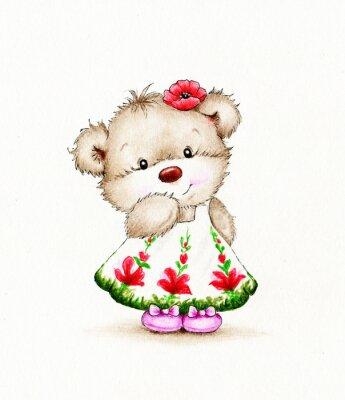 Vinilo La muchacha linda del oso de peluche