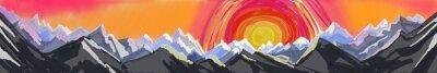 Vinilo La salida del sol o la puesta del sol de la montaña, pintura digital del arte abstracto de la cordillera rugosa con el ajuste o el levantamiento colorido enorme del sol, encabezado del Web site o pie
