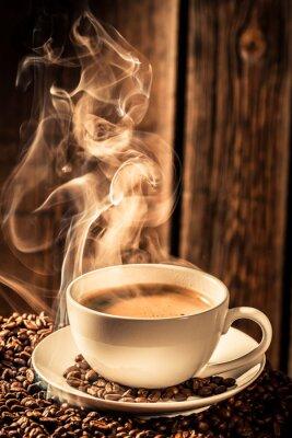 Vinilo La taza de café del aroma con semillas tostadas