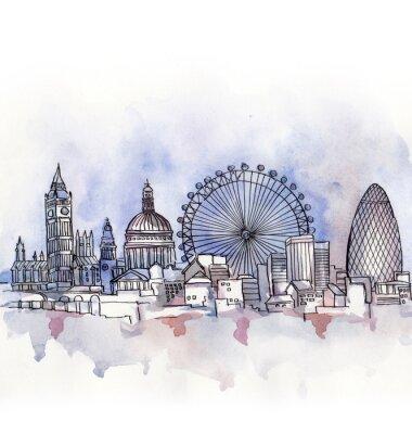 Vinilo La vista panorámica de Londres acuarela de la Unión Europea país aislado en el fondo blanco