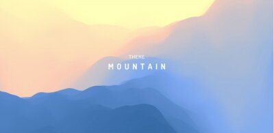 Vinilo Landscape with mountains and sun. Sunrise. Mountainous terrain. Abstract background. Vector illustration.