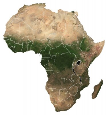 Vinilo Large (97 MP) isolated satellite image of Africa with country borders. African continent from space. Detailed map of Africa in orthographic projection. Elements of this image furnished by NASA.