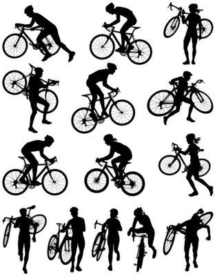 Vinilo Las carreras de ciclocross silueta del vector