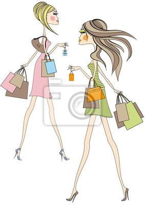 0067023f430bc Vinilo Las chicas de moda caminando con bolsas de compras