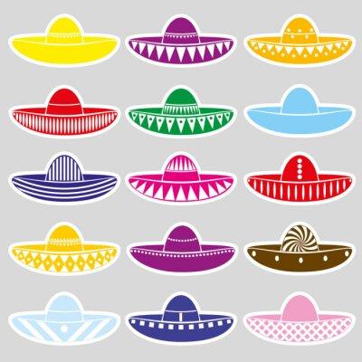 Vinilo Las etiquetas engomadas de las variaciones del sombrero del sombrero de México eps10