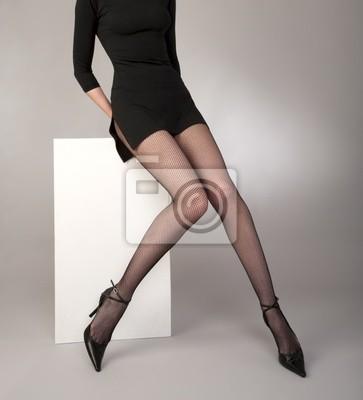 e69ba365b Las niñas las piernas bien formadas con medias de red negras vinilos ...