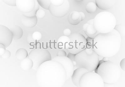Vinilo Las perlas blancas vuelan en el espacio. Las bolas mates de la esfera 3d están cayendo - rinda la ilustración. Fondo de papel pintado con estilo moderno abstracto