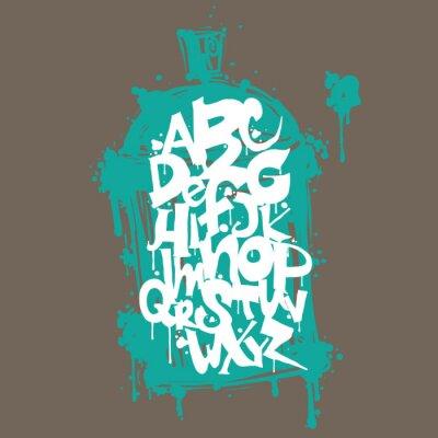 Vinilo Letras del alfabeto de la fuente de la pintada de colores. Diseño de la pintada del hip hop