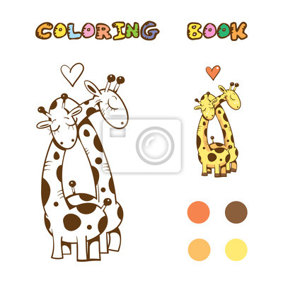 Libro para colorear con jirafas lindas de dibujos animados en ...