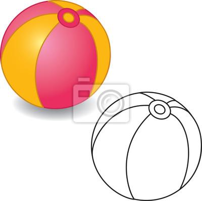 Libro para colorear. ilustración de la bola del juguete del vector ...