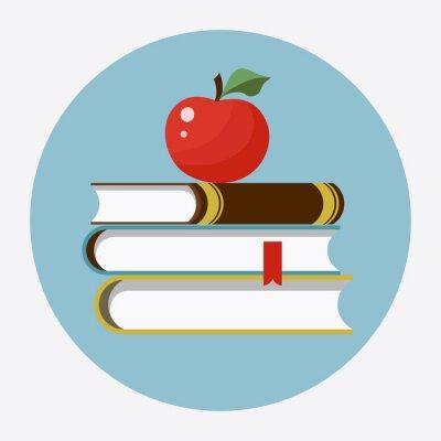 Vinilo Libros con la manzana icono plano