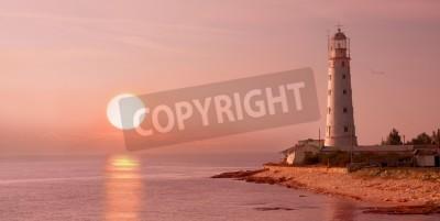 Vinilo lighthouse and sunset