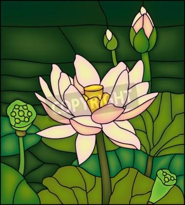 Vinilo Lily en el estanque, winow manchado de vidrio
