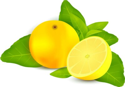 Vinilo Limones frescos con hojas de fondo blanco