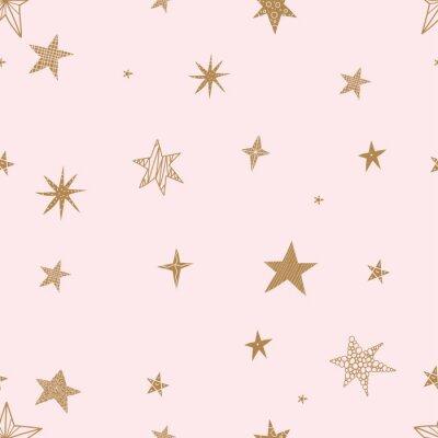 Vinilo Lindas estrellas doradas. Patrón transparente de vector El patrón sin costuras se puede utilizar para papel tapiz, rellenos de patrones, fondo de páginas web, texturas superficiales.