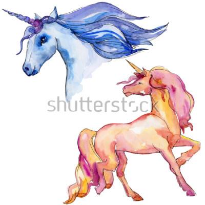 Vinilo Lindo caballo de unicornio. Los niños de cuento de hadas dulce sueño. Carácter animal cuerno del arco iris. Elemento aislado de la ilustración. Acuarela animal salvaje para fondo, textura, patrón de e