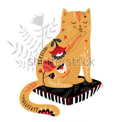 Vinilo lindo gato dibujado a mano