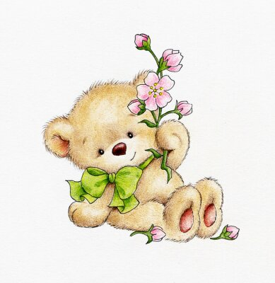 Vinilo Lindo oso de peluche con flores