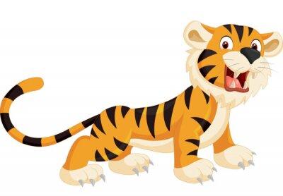 Vinilo Lindo tigre rugiente de dibujos animados