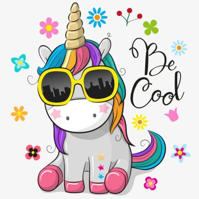 Vinilo Lindo unicornio con gafas de sol
