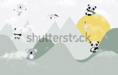 Vinilo Lindos koalas y pandas jugando en la montaña.
