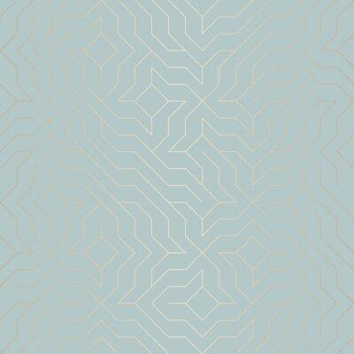 Vinilo Línea de oro geométrica de vector sin fisuras patrón. Resumen textura de cobre de fondo en verde azul. Impresión gráfica minimalista simple. Red de enrejado de turquesa moderna. Geometría sagrada mode