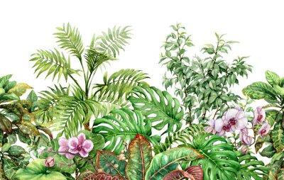 Vinilo Línea de plantas tropicales de patrones sin fisuras