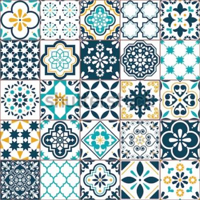 Vinilo Lisboa geométrica Azulejo azulejo vector patrón, portugués o español azulejos antiguos retro mosaico, Mediterráneo transparente turquesa y diseño amarillo. Fondo textil ornamental