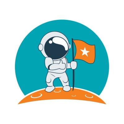 Vinilo Little Astronaut éxito en la misión de la luna de dibujos animados