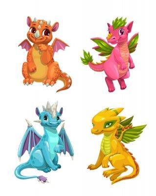 Vinilo Little cute cartoon dragons set. Colotful fantasy monsters.