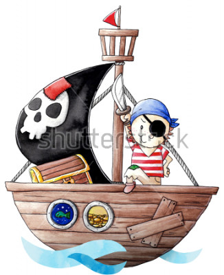 Vinilo Little pirate boy with his ship