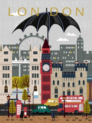 Vinilo Llamativo cartel de viaje de Reino Unido