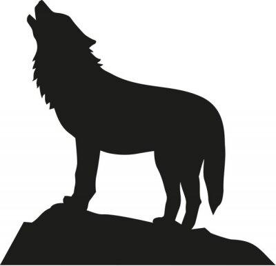 Vinilo Lobo de pie y aullando
