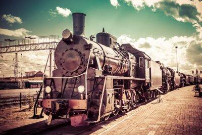 Vinilo Locomotora de vapor vieja, tren de época.