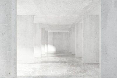 Vinilo Loft túnel de estilo con muchas paredes en la luz vacío edificio