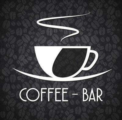 Vinilo Logo Minimalist Coffee Bar Black and White