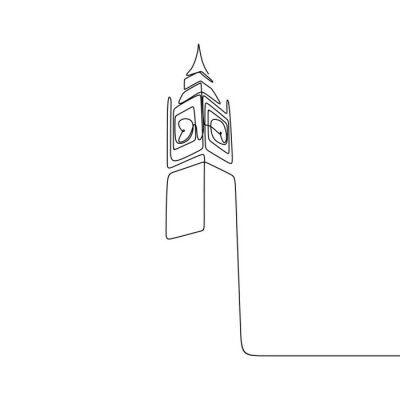 Vinilo London City of Westminster Big Ben clock tower one line drawing minimalist design