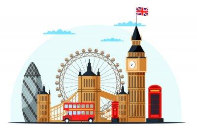 Vinilo London cityscape flat vector color illustration