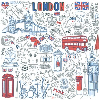 Vinilo London doodle set. Landmarks, architecture and traditional symbols of English culture - Big Ben, Tower Bridge, Royal crown, red telephone box, Union Jack. Vector illustration isolated on background
