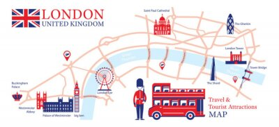 Vinilo London, England Travel and Tourist Attraction Map