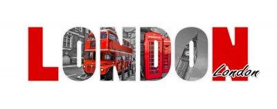 Vinilo Londres cartas, aisladas sobre fondo blanco, viajes y turismo en el Reino Unido concepto