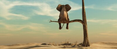 Vinilo Lonely elephant on tree