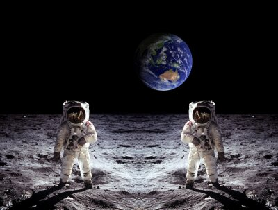 Vinilo Los astronautas alunizaje Tierra