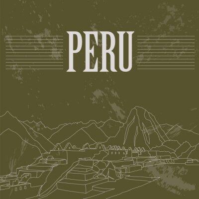 Vinilo Lugares de interés de Perú. Imagen de estilo retro.