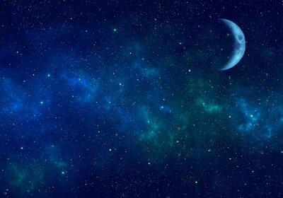 Vinilo Luna, nebulosa y estrellas en el cielo nocturno. Espacio de fondo
