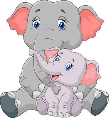 Vinilo Madre de dibujos animados y bebé elefante sentado aislados sobre fondo blanco