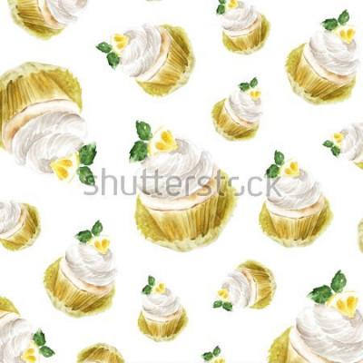 Vinilo Magdalena del limón con la menta poner crema, postre del mollete del ejemplo de la acuarela. impresión del arte, boceto de moda. panadería pastel dulce fruta citrus.pattern