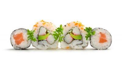 Vinilo maki sushi de salmón y rollos de california